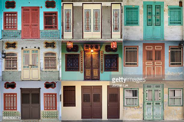 penang heritage doors and widows - george town penang stock photos and pictures