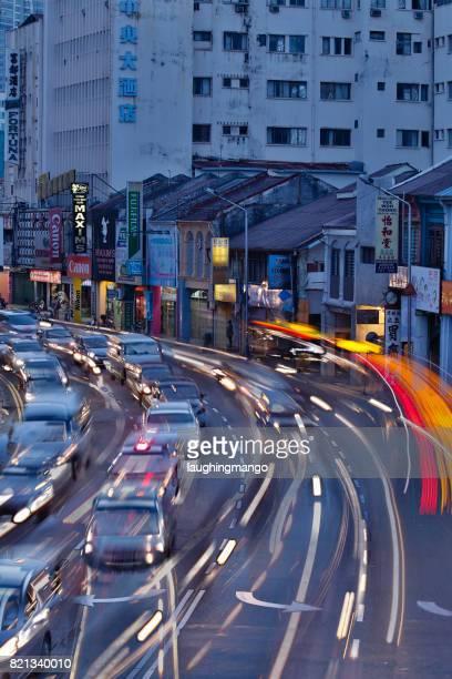 Penang Road Traffic Rush Hour Georgetown Penang Malaysia