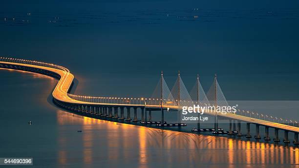 Penang second bridge during blue hour