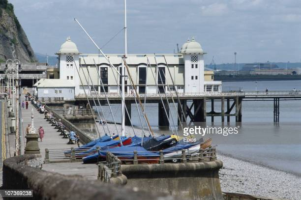 Penarth Pier and boats on Penarth seafront in the Vale of Glamorgan Wales circa 1985