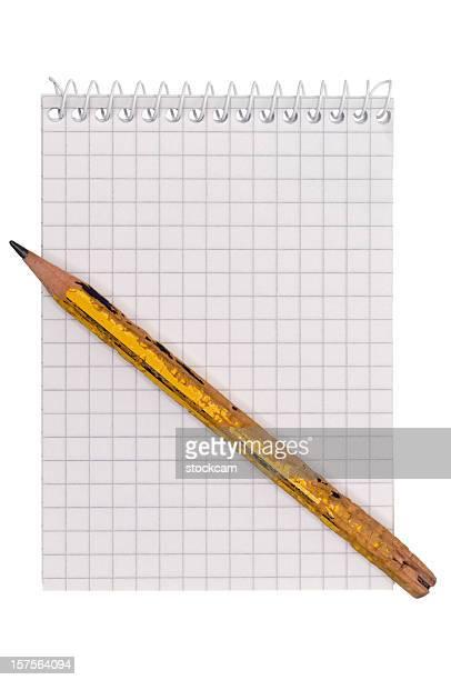 Bleistift und leere weiße Mathematik Papier