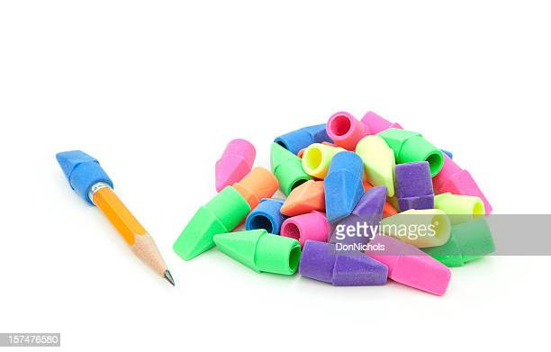 Pencil and Colorful Erasers