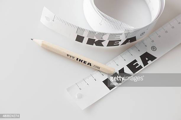 ikea pencil and tape measure - ikea stock pictures, royalty-free photos & images