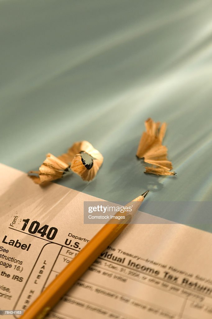 Pencil and tax form : Stockfoto