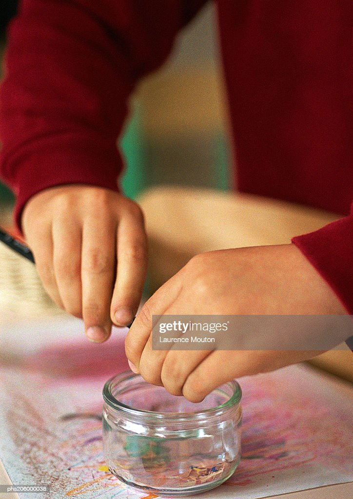 Pencil being sharpened. : Stockfoto