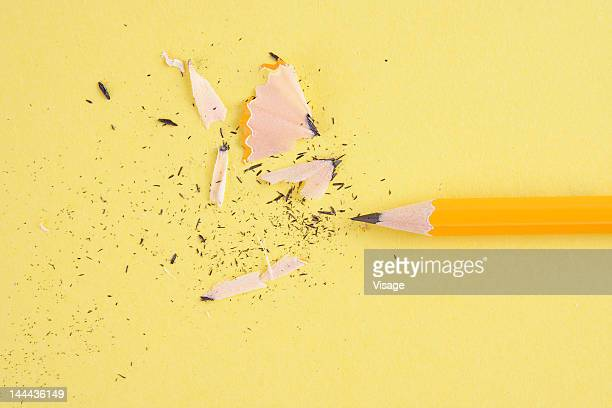 A pencil beside shavings