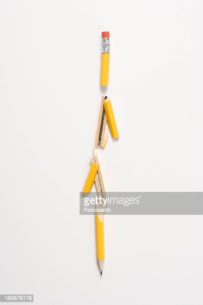 Pencil broken in several places
