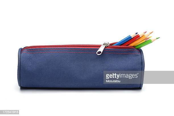pencil case with color pencils - pencil case stock pictures, royalty-free photos & images