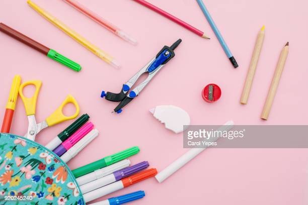 pencil case with school supplies - pencil case stock photos and pictures