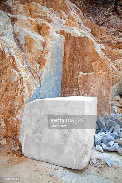 Pencil drawing on marble at quarry