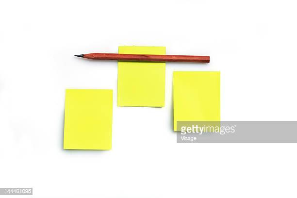 Pencil on adhesive notes