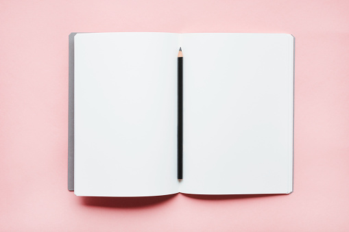 Pencil on open notebook - gettyimageskorea