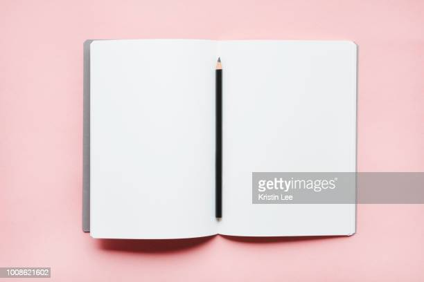Pencil on open notebook