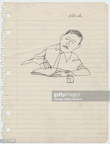 Pencil sketch of council clerk Charlie Cox during the trial of the trial of JW Milam and Roy Bryant in the Tallahatchie County Courthouse Sumner...