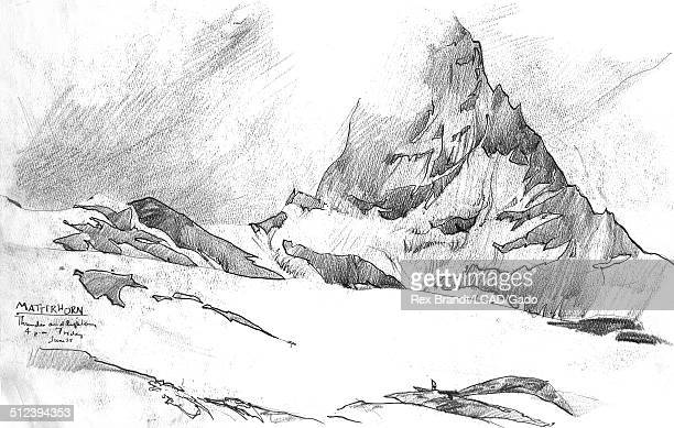 Pencil sketch of the Matterhorn mountain Valais Switzerland June 25 1965 Brandt was a cubist and member of the California Watercolor movement