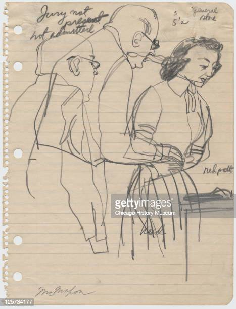 Pencil sketch shows defense attorney Caleb Sidney Carlton and defense witness Carolyn Bryant during the trial of her husband Roy Bryant and JW Milam...