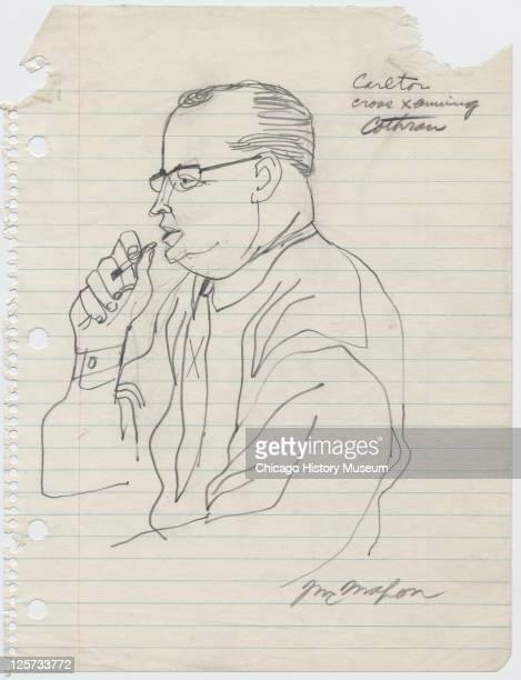 Pencil sketch shows defense attorney Caleb Sidney Carlton as he smokes a cigarette during the crossexamination of prosection withess Leflore county...