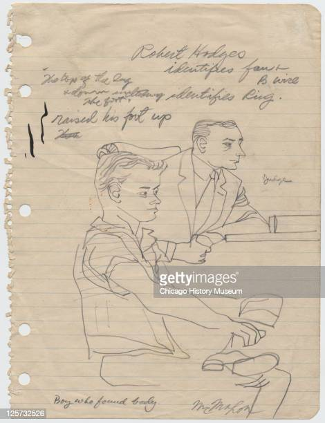 Pencil sketch shows prosecution witness Robert Hodges as he testifies during the trial of JW Milam and Roy Bryant in the Tallahatchie County...