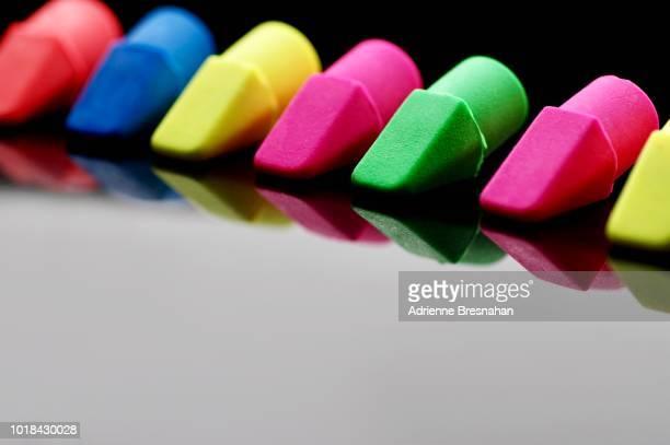 Pencil Top Erasers in a Row