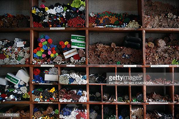 Pencils are displayed on February 9 2012 in the traditional Portuguese pencil factory Viarco in Sao Joao da Madeira The ColorADD created by...