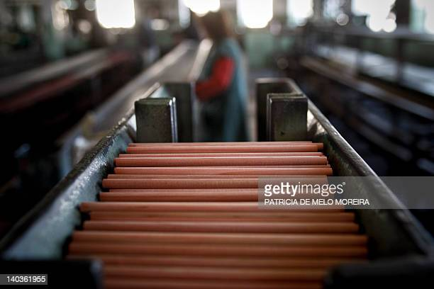 Pencils are ready to be painted on February 9 2012 at the traditionl Portuguese pencil factory Viarco in Sao Joao da Madeira The ColorADD created by...