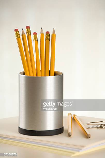 pencils in a  pencil holder - pencil case stock pictures, royalty-free photos & images