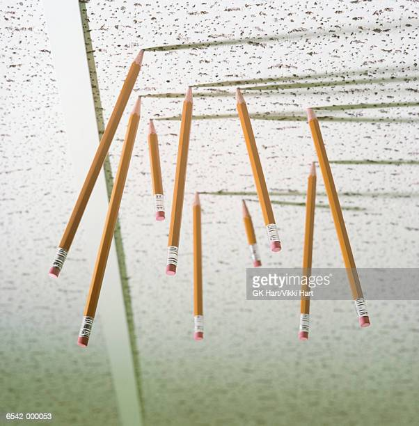 pencils in office ceiling - ceiling stock pictures, royalty-free photos & images
