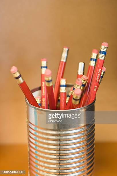 Pencils in tin can, close-up