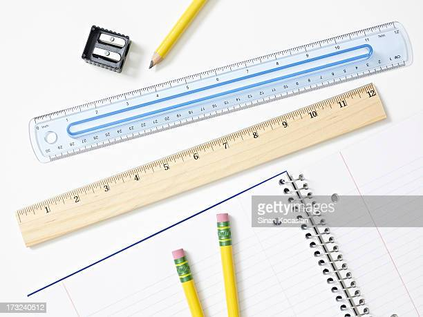 Pencils, rulers and notebook