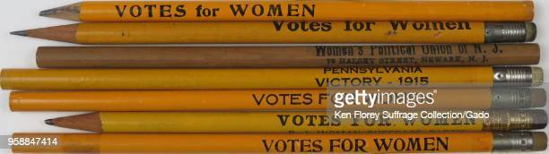 "Pencils stamped with prosuffrage messages including ""Votes For Women "" 'Women's Political Union of NJ ' and 'Pennsylvania Victory 1915 ' made for the..."