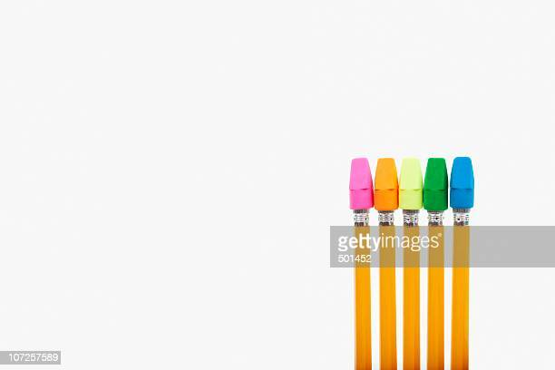 Pencils with erasers