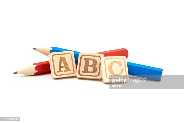 Pencils with Wooden Alphabet Blocks