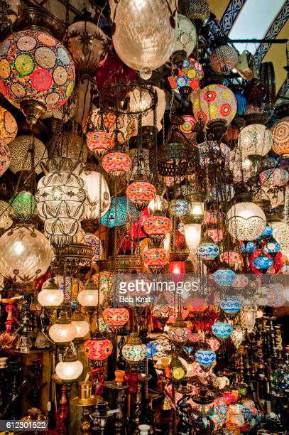 pendant lights in the grand bazaar - bazaar stockfoto's en -beelden