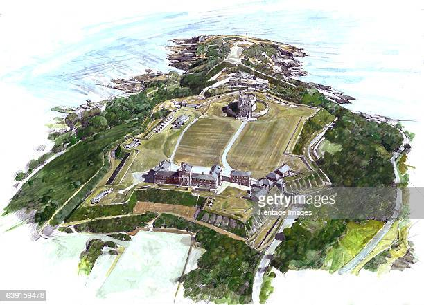 Pendennis Castle Falmouth Cornwall c2010 Aerial reconstruction painting of the Tudor Elizabethan and later fortress as it appears today Pendennis...