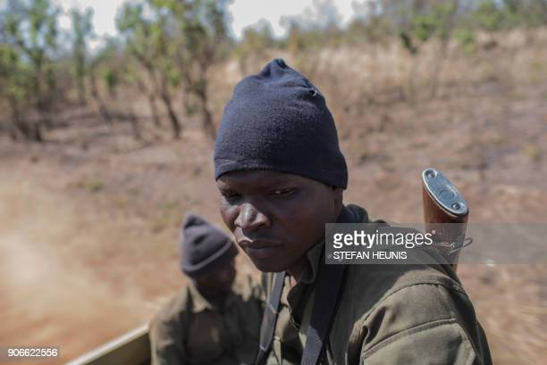 TOPSHOT Pendjari National Park rangers sit on the back of a vehicle during an elephant collaring exercise at Pendjari National Park on January 10...