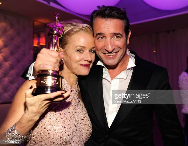 Penelope Ann Miller and Jean Dujardin attend the 2012 Vanity Fair Oscar Party Hosted By Graydon Carter at Sunset Tower on February 26 2012 in West...