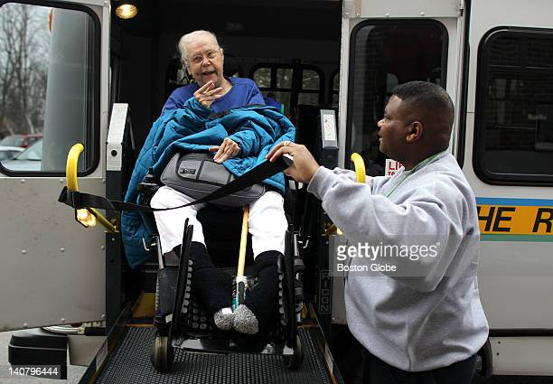Penelope Ann Shaw left uses the MBTA's Ride paratransit service with the help of driver Anthony Griffin right from her nursing home in Braintree to a...