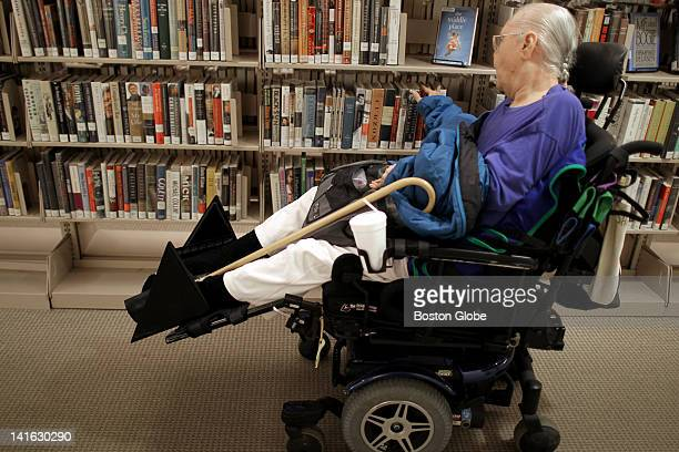Penelope Ann Shaw uses the MBTA's Ride paratransit service to get from her nursing home in Braintree to a local library, where she browses the books...