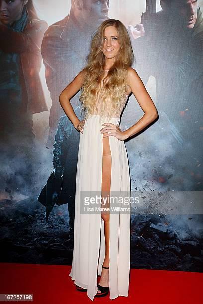 Penelope Austin arrives at the Australian premiere of 'Star Trek Intro Darkness' at Event Cinemas on April 23 2013 in Sydney Australia