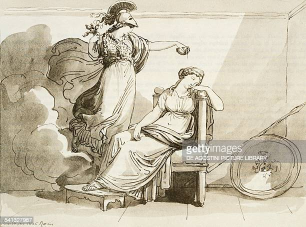 Penelope beautified by Minerva by Bartolomeo Pinelli engraving Italy 19th century