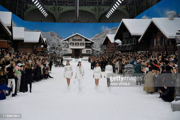 Penelope Cruz Adut Akech and models walk the runway during the Chanel Ready to Wear fashion show as part of the Paris Fashion Week Womenswear...