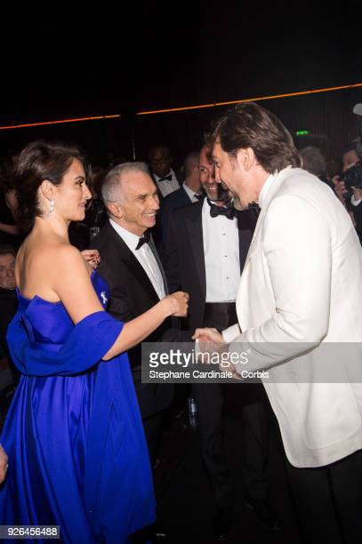 Penelope Cruz Alain Terzian and Javier Barden at Salle Pleyel on March 2 2018 in Paris France
