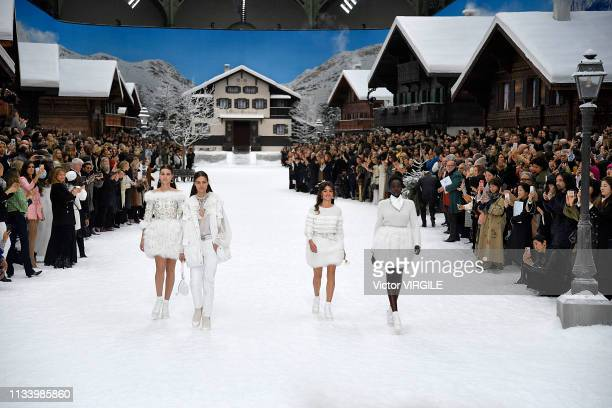 Penelope Cruz and Adut Akech walk the runway during the Chanel Ready to Wear fashion show as part of the Paris Fashion Week Womenswear Fall/Winter...