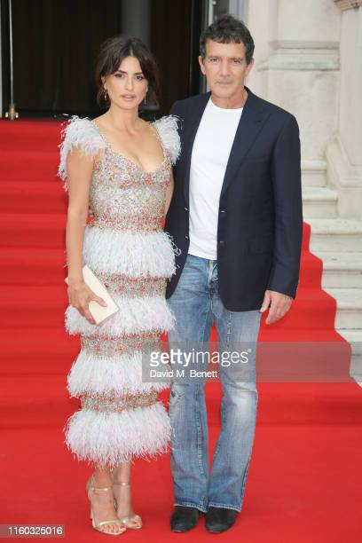 Penelope Cruz and Antonio Banderas attend the opening night of Film4 Summer Screen at Somerset House featuring the UK Premiere of Pain And Glory on...