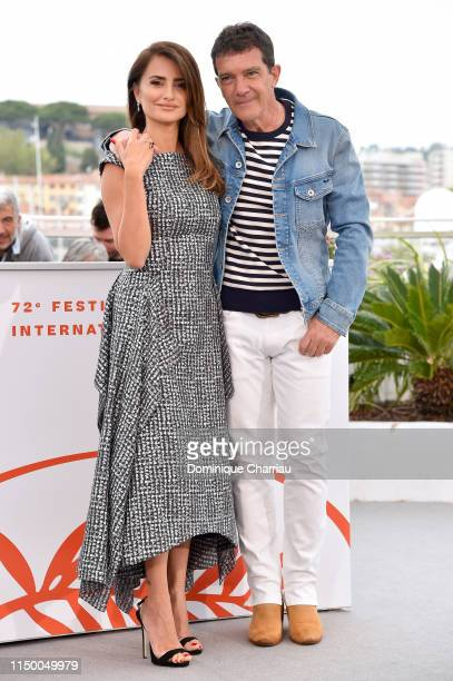 """Penelope Cruz and Antonio Banderas attend the """"Pain And Glory """" photocall during the 72nd annual Cannes Film Festival on May 18, 2019 in Cannes,..."""