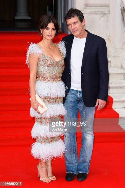 Penelope Cruz and Antonio Banderas attend the Pain And Glory UK Premiere and opening gala of Film4 Summer Screen at Somerset House on August 08 2019...