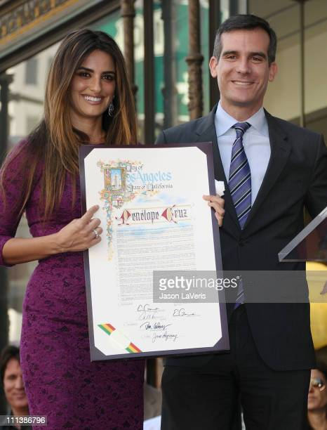 Penelope Cruz and Eric Garcetti attend Cruz's induction into the Hollywood Walk of Fame on April 1 2011 in Hollywood California