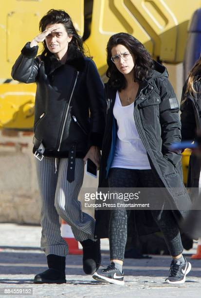 Penelope Cruz and Inma Cuesta are seen during the set filming of 'Todos lo Saben' on November 23 2017 in Madrid Spain