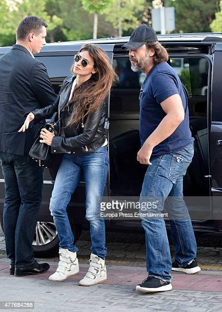 Penelope Cruz and Javier Bardem are seen at the funeral chapel of Penelope's father Eduardo Cruz on June 18 2015 in Madrid Spain