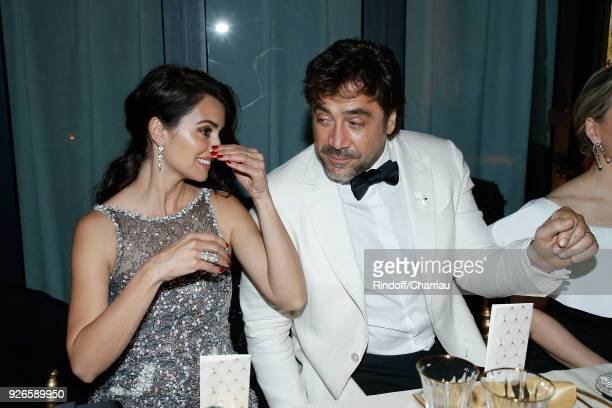 Penelope Cruz and Javier Bardem attend 'Dinner at Le Fouquet's' during Cesar Film Award 2018 at Le Fouquet's on March 2 2018 in Paris France